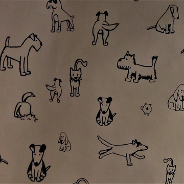 Khaki Dog Doodles Fabric - KNUS