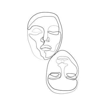 Mirror Face Line Drawing Art Print - KNUS