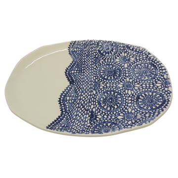 Blue Lace Oval Platter - KNUS