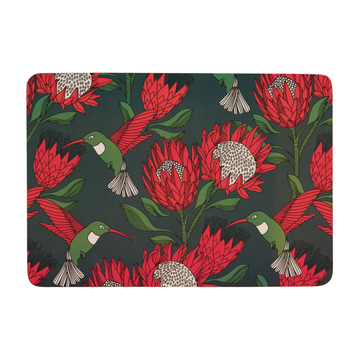 Protea Red on Gunmetal Melamine Placemat - KNUS