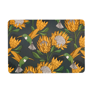 Protea Yellow on Gunmetal Melamine Placemat - KNUS