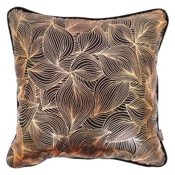 Lilium Rose Gold Foil on Charcoal Cushion - KNUS