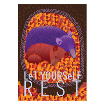 Let Yourself Rest | Bear Mom and Cub Mindfulness Print - KNUS