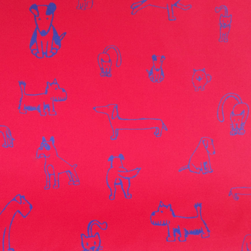 Dog Doodles Red Fabric (Per Meter) - KNUS