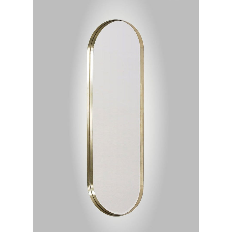 LED Backlit Brass Deep Frame Pill Mirror