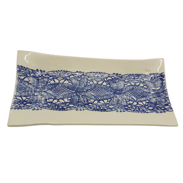 Rectangular Platter with Blue Lace - KNUS