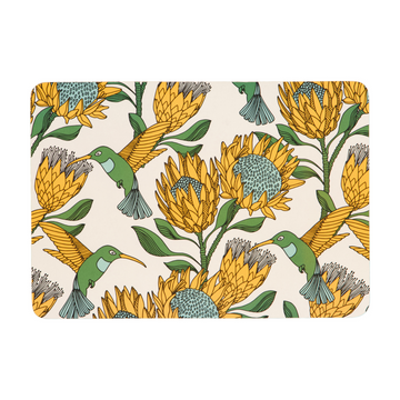 Protea Yellow on White Melamine Placemat - KNUS