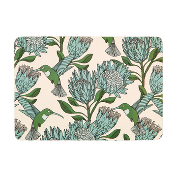 Protea Blue on White Melamine Placemat - KNUS