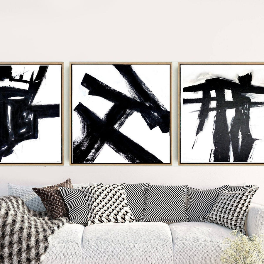 Abstract Oil BLK/WHITE Art Print