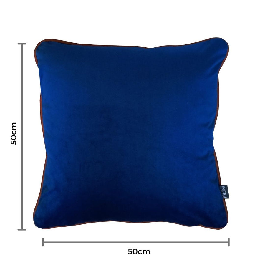 Indigo Velvet Cushion with Terracotta Piping