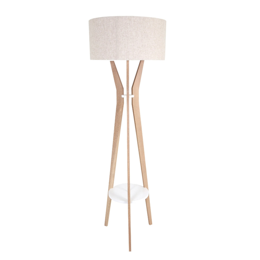 Dwell Floor Lamp Oak & White Rings - KNUS