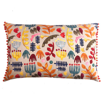 Kukua Multi Colour with Saffron Pom Poms Scatter Cover - KNUS