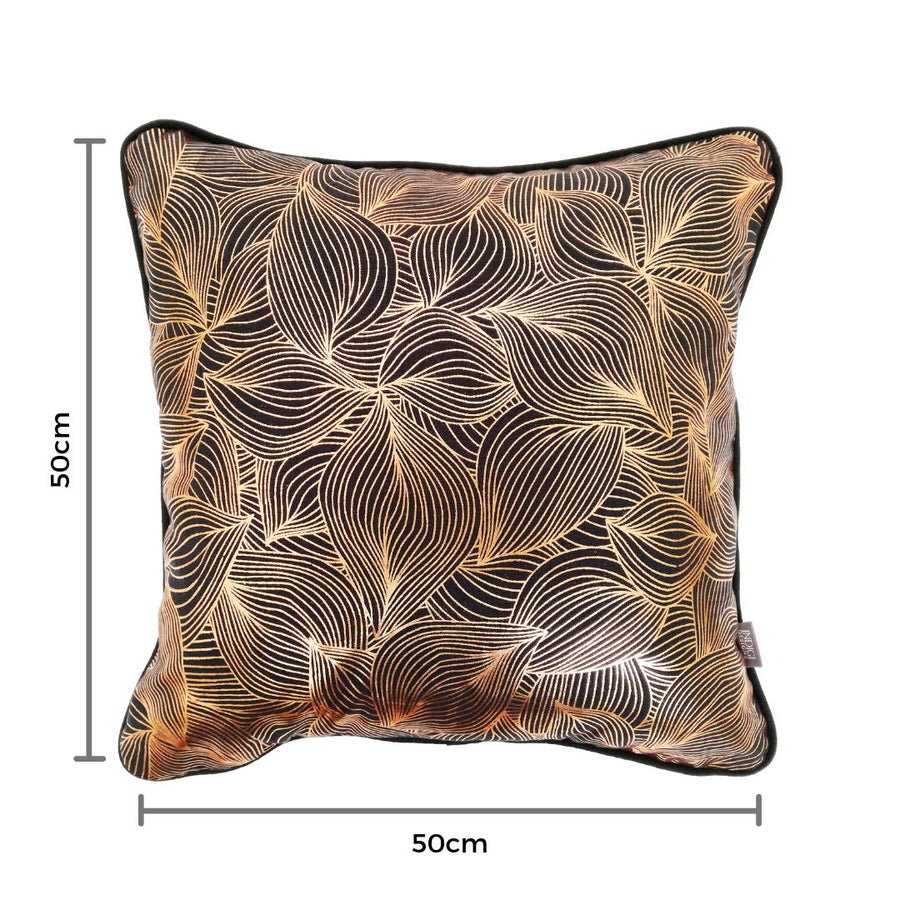 Lilium Rose Gold on Charcoal Cushion