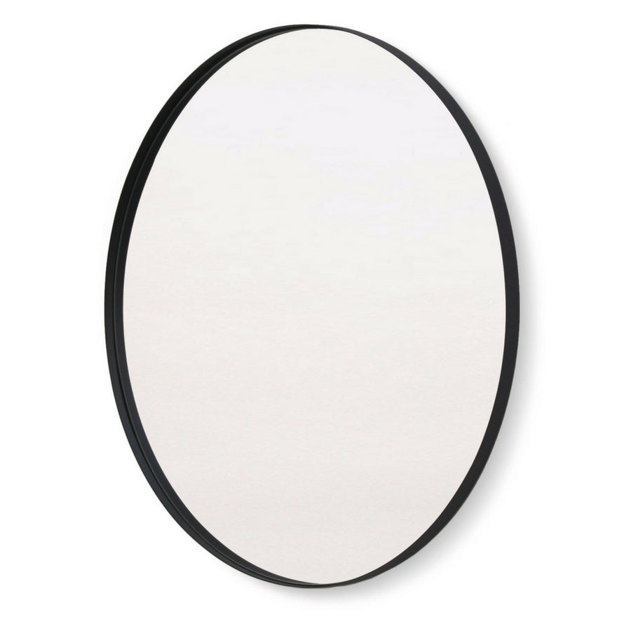 Black Deep Frame Circular Mirror
