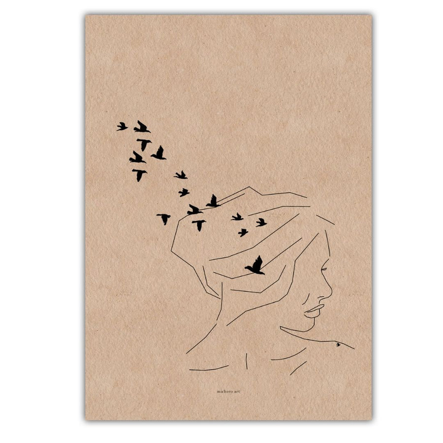 Woman with Birds Art Print - KNUS