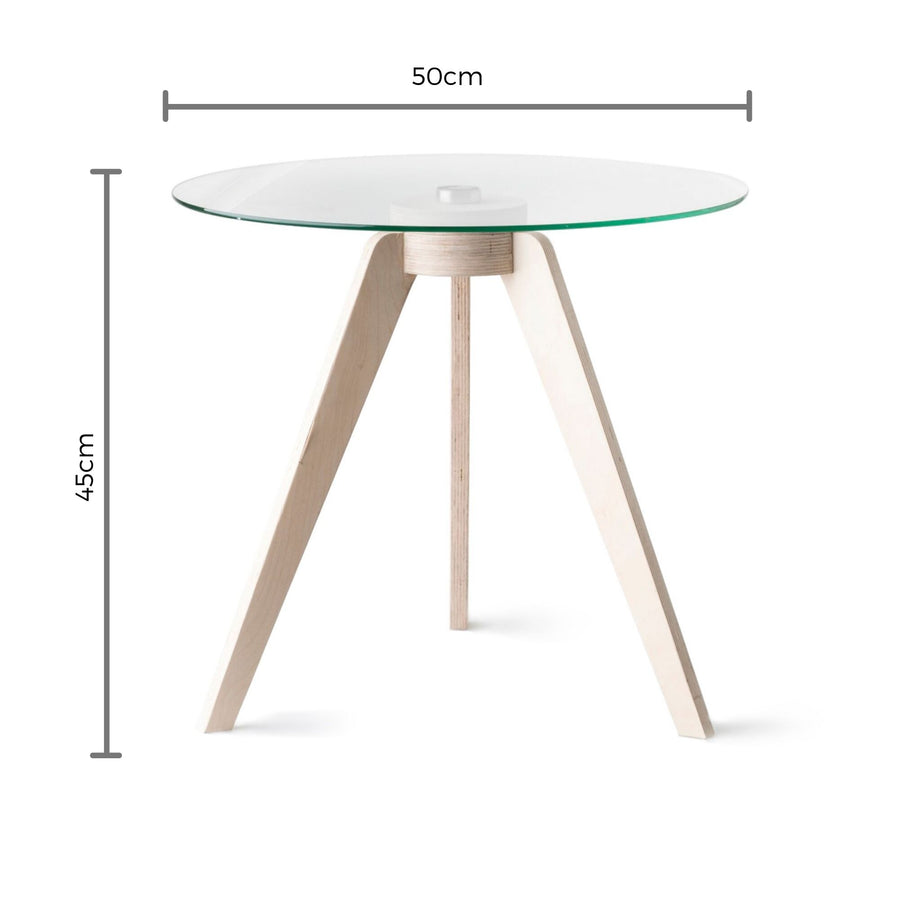 Birch Round Glass Side Table