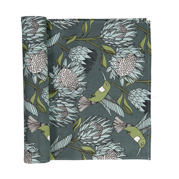 Protea Blue on Gunmetal Table Runner - KNUS