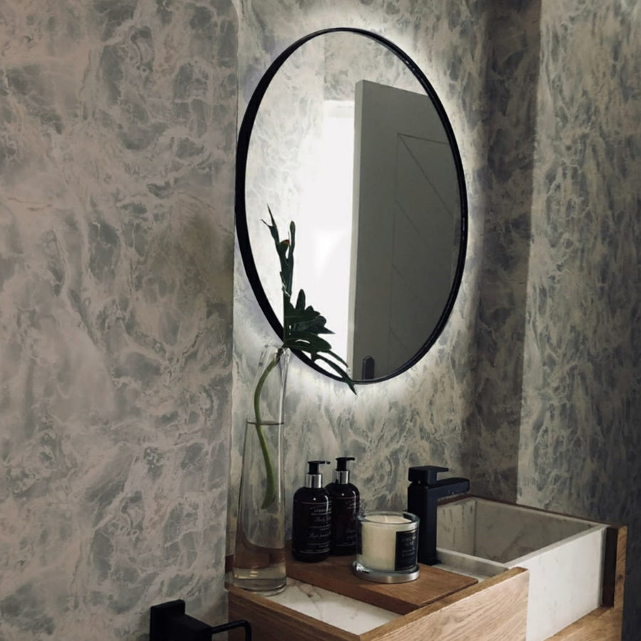 LED Backlit Black Deep Frame Mirror