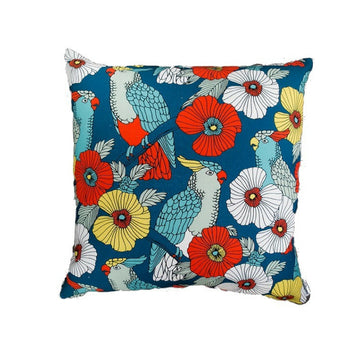 Cockatiel & Leaves (Blue) Scatter Cushion