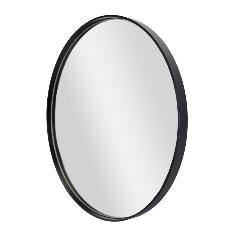 Wooden Black Deep Frame Round Mirror