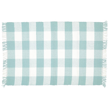 Dhurrie Checked Duck Egg and White Mat - KNUS