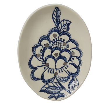 Oval Soap Dish with Blue Lace - KNUS