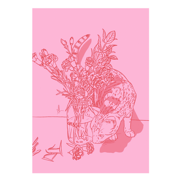 Cat & Carnations Art Print - KNUS
