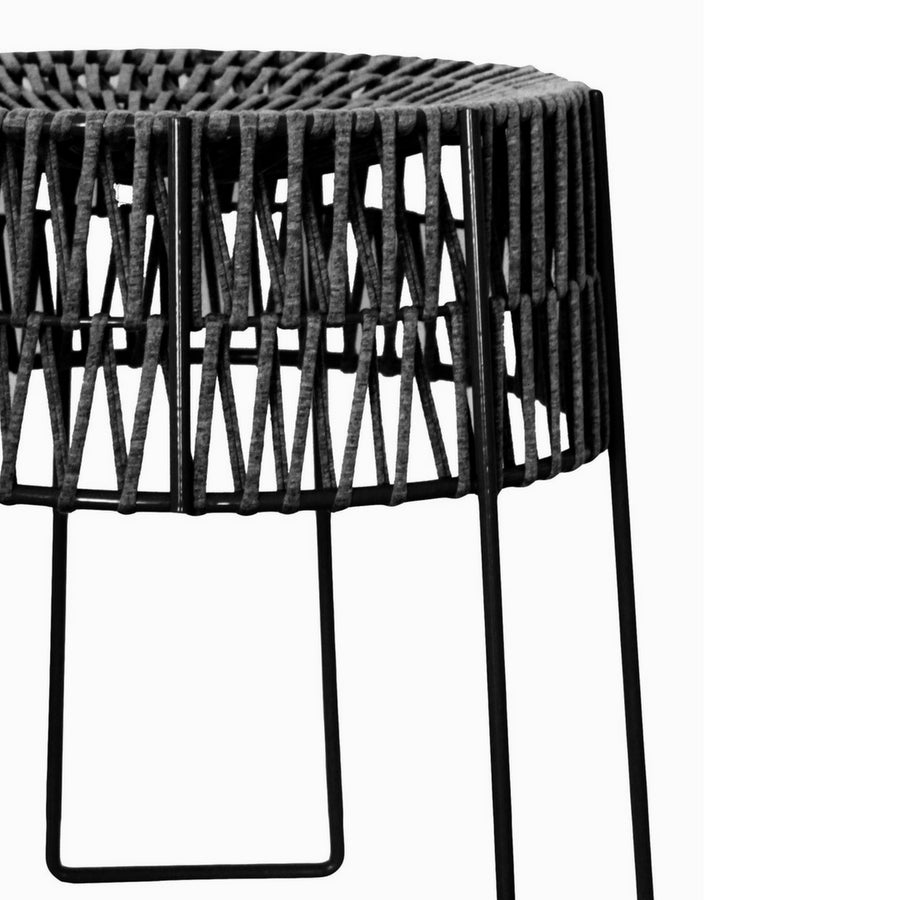 Charcoal Woven T-Yarn Stool
