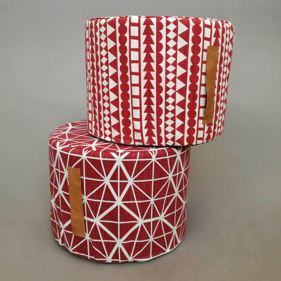 Facet Red Floor Ottoman