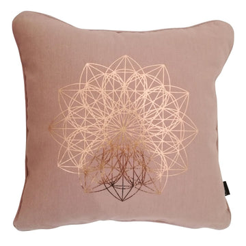 Lotus Rose Gold on Nude Pink Cushion - KNUS