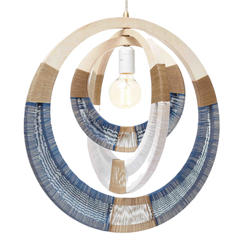 White & Blue Woven Necklace Lampshade - KNUS