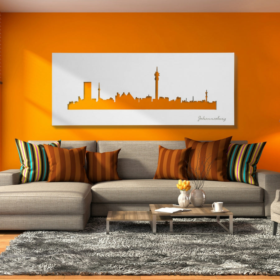 Joburg Skyline White Wall Art - KNUS