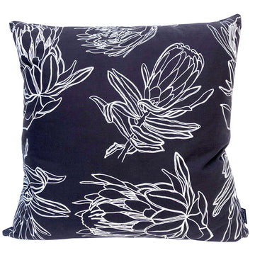 Line Protea on Charcoal Scatter Cushion - KNUS