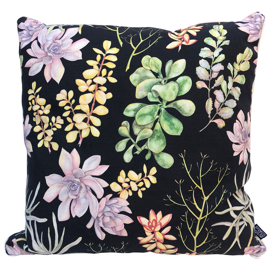 Succulent Charcoal on Black Scatter Cushion - KNUS