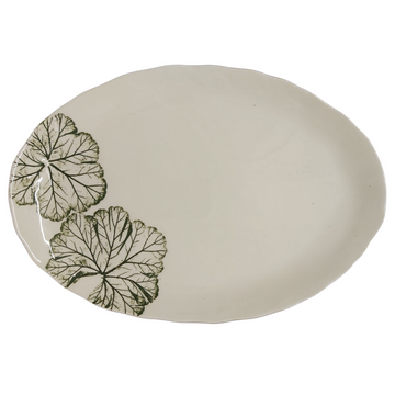 Large Green Leaf Oval Platter - KNUS