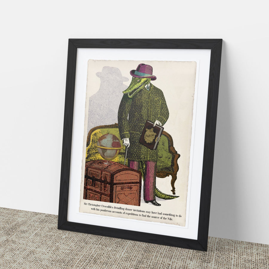 Sir Christopher Crocodile Art Print
