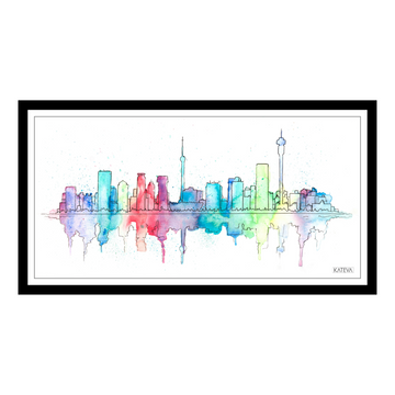 Watercolour Johannesburg Skyline 1 Art Print - KNUS