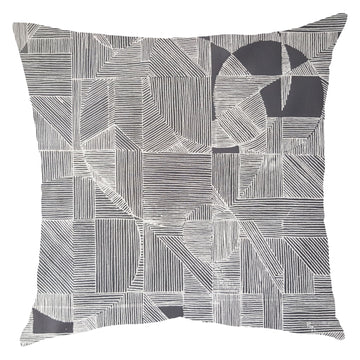 White on Grey GEO Circle Scatter Cushion - KNUS