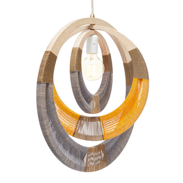 Grey & Yellow Woven Necklace Lampshade - KNUS