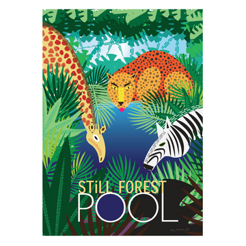 Still Forest Pool | Giraffe, Leopard and Zebra Mindfulness Print - KNUS