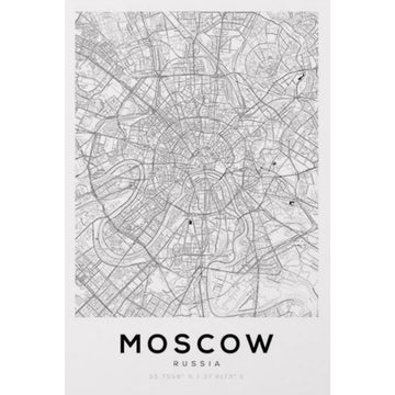 Moscow Map Art Print - KNUS