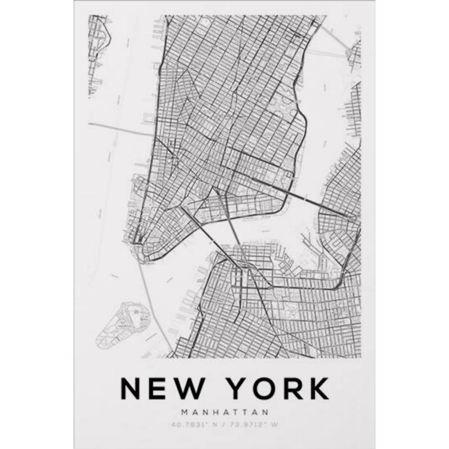 New York Map Art Print - KNUS