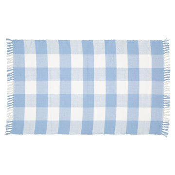 Dhurrie Rug Checked Blue and White Mat - KNUS
