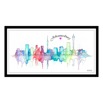 Watercolour Johannesburg Skyline 2 Art Print - KNUS