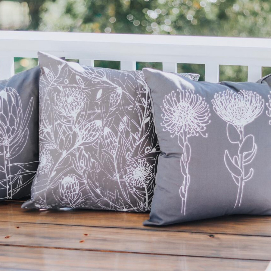 Single Protea Print on Grey Scatter Cushion
