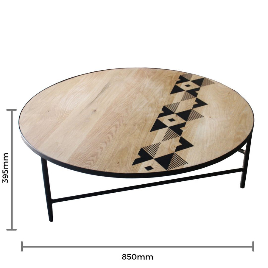 Large Oak Coffee Table with Resin Pattern Detail