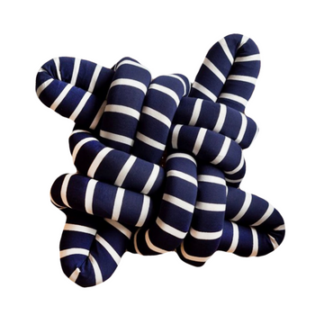 Navy & White Stripe Square Knot Cushion - KNUS