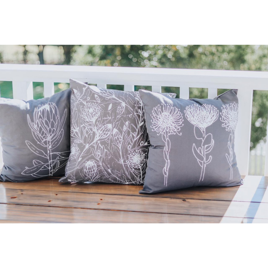 3 Pincushion Print on Grey Scatter Cushion