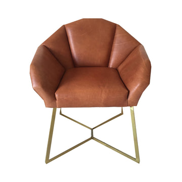 Fracture Armchair with Gold Electroplated Legs & Genuine Leather