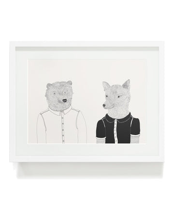 Bear and Wolf Art Print